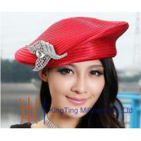 China Beret Red / Silver Satin Braid Ladies Church Hats , womens easter hats for Dress on sale