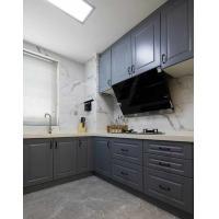 IKEA kitchen cabinet Quartz stone countertop small white brick wall European Hotel cabinet