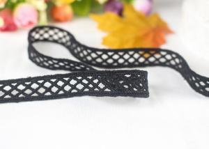 China Flat Polyester Balck Water Soluble Lace Trim With Rhombus Pattern For Necklace on sale