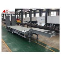 Hydraulic Ramp Truck Low Bed Trailer , High Capacity Lowboy Drop Deck Trailer