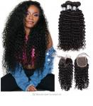 Kinky Curly Virgin Unprocessed Human Hair Bundles With Closure 4 By 4