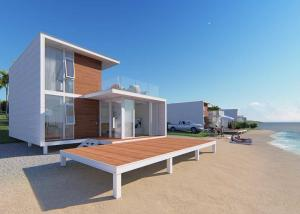 China Luxury Upmarket 2 Bedroom Prefab Homes , White Luxury Prefab Homes With Balcony on sale