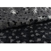Golden Black Sequin Lace Fabric With 3D Embroidery Fabric For Party Gown Dresses