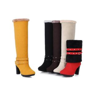 China Rough heel revers lacing knee boots PU nubuck lady shoes wholesales on sale