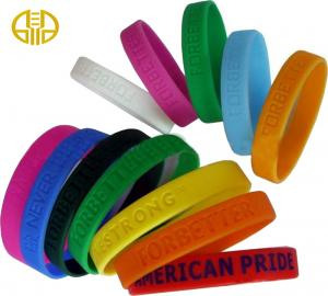 China Nickel free Pink Debossed Silicone Wristbands 80*12*2mm / 202*12*2mm on sale