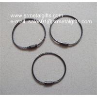 Black nickel plated steel wire loop with screw nut for wire cable keyring