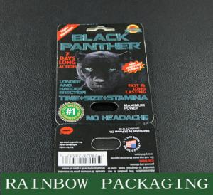 China Sex Pills Packaging Black Panther Blister Card Packaging Custom Made on sale
