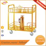 titanium gold stainless steel serving cart trolly with 2 ties Kunda C-003