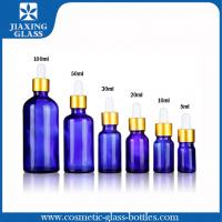 China 1Oz Cobalt Blue Essential Oil Glass Bottle With Glass Eye Dropper on sale