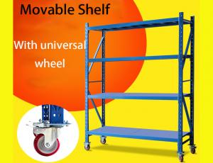 China Light Duty Warehouse Storage Shelves Movable Shelving Units With Universal Wheel / Brake on sale