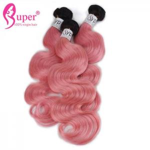 China 2 Color Ombre Brazilian Hair Weave Pink For Short Dark Hair Bundles Body Wave on sale
