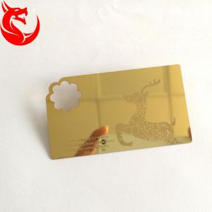 Laser Cut Anodized  Gold Business Cards With Mirror On Back 0.3mm 0.5mm Thickness