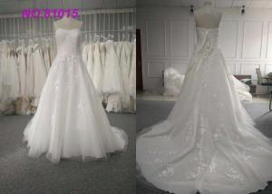 China Lovely Sweetheart Sleveless Wedding Dressing Gowns Backless Lace Up Lace Sequins on sale