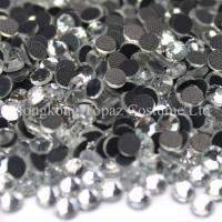 China crystal clear flat back hot fix rhinestone machine cut glass stone on sale