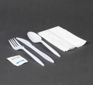 China White Plastic Cutlery Pack with Knife, Fork, Spoon, Napkin & Salt / Pepper 500 / Case on sale