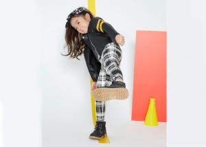 China Classical Kids Girls Clothes Girl Fashion Suit Black And White Grid Stripe Pattern on sale