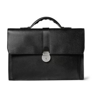 China Office Mens Leather Briefcase Bag , Canvas Lining Silver Metal Handmade Man Bags on sale