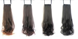 China Hot Sale Synthetic Brown Silky Wave  Pony Tail Hair Pieces on sale