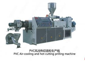 China Conical Twin Screw PVC Plastic Scrap / Flakes Pelletizing Recycling Machine Hot Cutting on sale