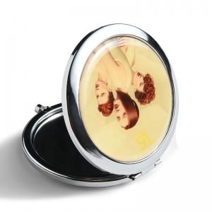 China Foldable Small Handbag Mirror , Vintage Silver Compact Mirror Smooth Surface on sale