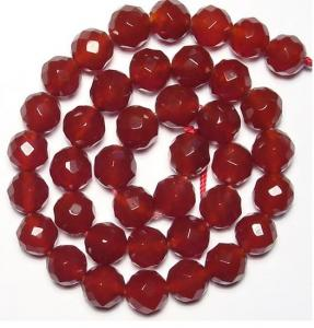 China Wholesale Gemstone Beads, Faceted Round Carnelian Agate Beads, Semi Precious Gem Beads on sale