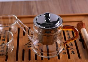 China Pyrex Microwave Heating Glass Tableware Teapots with Stainless Steel Infuser & Lid on sale