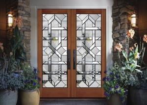 China Interior wood doors Classical Art Glass Panels Thermal Sound Insulation  easy to install on sale