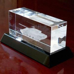 3D Laser Engraving Crystal Tank/Panzer Model, Various