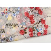 China French Bride Colorful Embroidered Fabric Tulle Mesh Lace High Color Fastness on sale