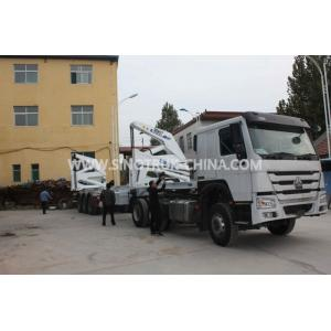 China 3 Axle Container Semi Trailer With 37 Tons XCMG Side Lifter And JOST Support Leg on sale