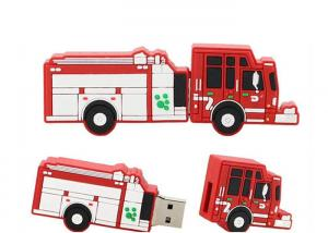 China PVC Custom Red Fire Truck Shaped USB Promotional Computer Memory Sticks on sale