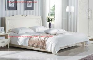 China Neoclassical style Bed furniture by Rubber solid wood in Pure white color from Italy design on sale