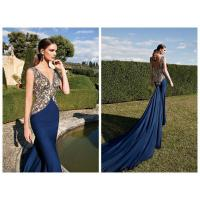 China Blue Vintage Womens Evening Dresses / Long Mermaid Evening Gowns on sale