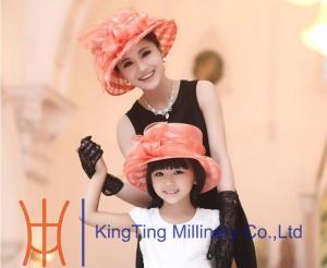 312e11e1b018f ... Quality Peach Wedding Organza Hat With Two Layer Flying Organza Brim for  sale ...
