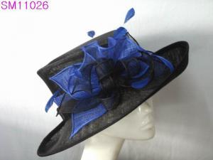 China Big Brim Sinamay Ladies Hats / ladies occasion hats Ruffle Trimming on sale