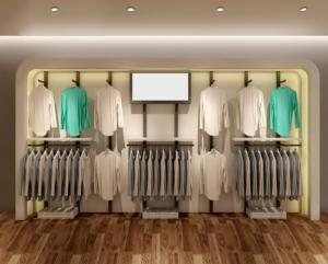 China 2400mm Height Clothing Display Racks Slatwall Clothing Display Non Corrosion on sale