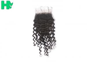 China 100% Human Hair Closure Deep Wave , Natural Black Brazilian Lace Closure on sale