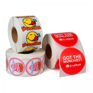 China Custom Roll Safe Food Packaging Stickers / Strong Sticky Self Adhesive Stickers on sale