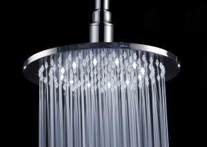 China Chrome Finish Overhead Inch Rain Shower Head / White LED Shower Head on sale