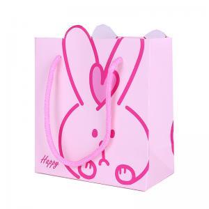 China Cute rabbit design pink baby clothing paper bag print custom wholesale on sale