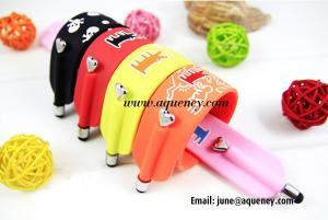 China Wholesale Silicone Bracelet Stylus Pen Wrist, Paipai color Wristband with Stylus Pen on sale