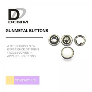 China 10mm Gunmetal Pearl Snap Buttons Metal Decorative For Jeans Parts on sale