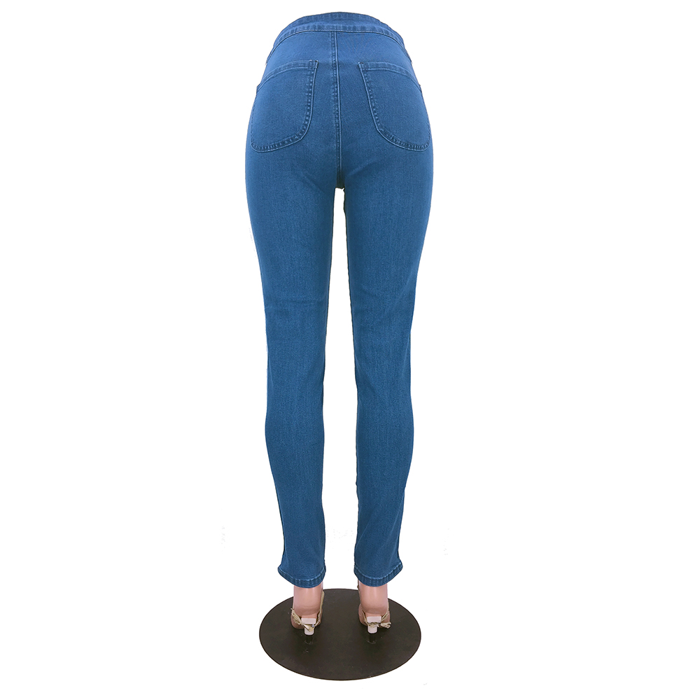 High Elastic Side Rugged Jeans Womens Softener Fabric Type