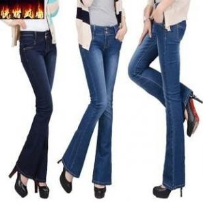China new fashion women jeans mini bell bottoms china factory wholesales on sale