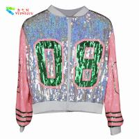 Casual Silver Pink Womens Sequin Clothing Zip Up Bomber Jacket Free Size