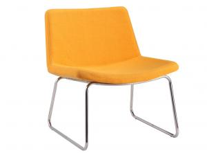 China Orange Upholstered Kitchen Chairs , Office Metal Frame Dining Chairs on sale