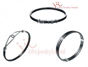 China 3MM Black 925 Sterling Silver Jewelry Sets Ceramic Bangle Bracelets In Nickel Free on sale