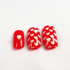 Quality JAPANESE Christmas Red Fake Nails 3D For Little Girls Short Sale