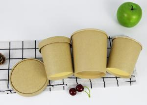 China Plain Kraft Wooden Brown Pulp PLA Coated Paper Soup Bowl With Paper Lid on sale