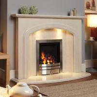 Indoor Electric Overmantel Marble Fireplace Surround